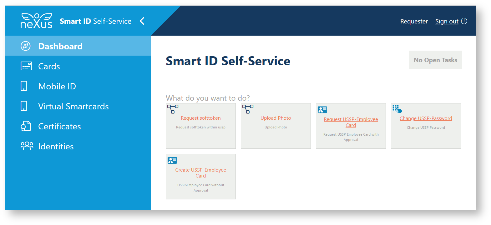 Smart ID Self-Service user interface